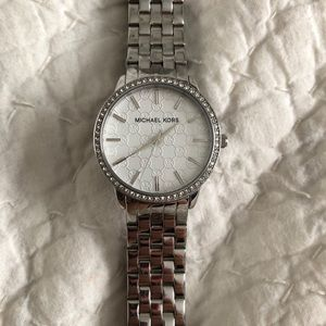 Michael Kors Silver, bejeweled watch. Authentic!